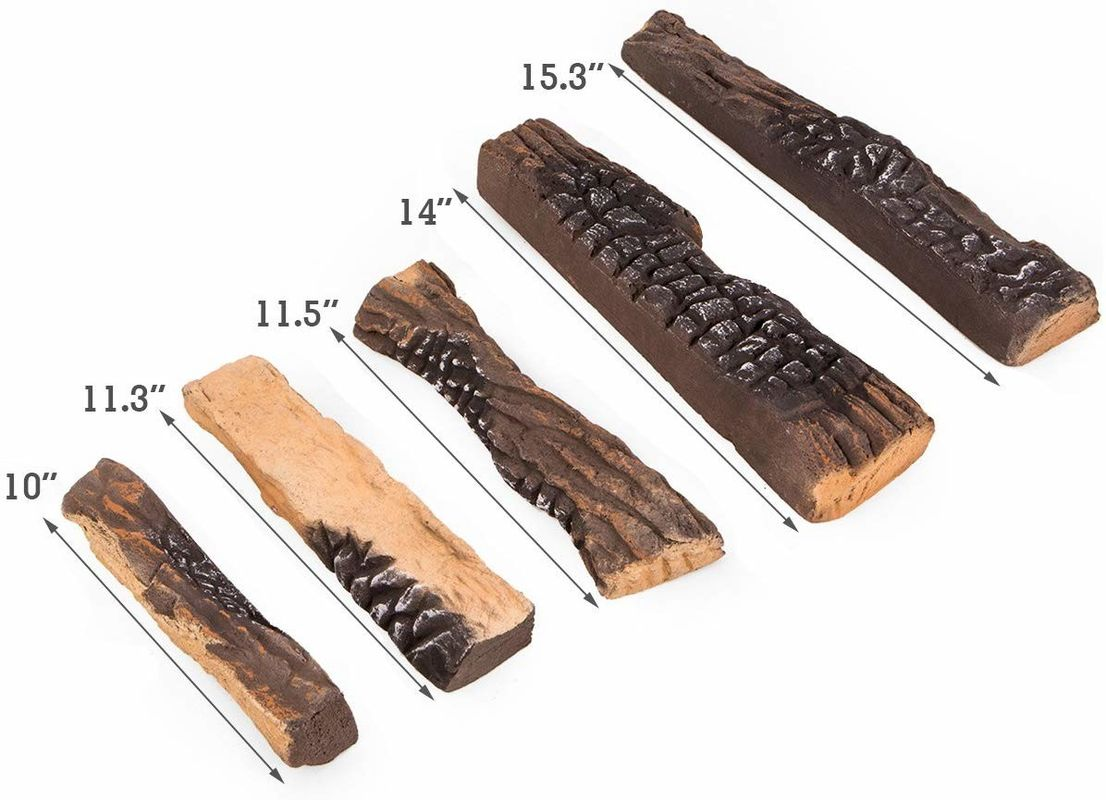 Inorganic Gas Fire Logs 5 Pieces S08-04 Ceramic Logs For Fire Pit Zero Clearance
